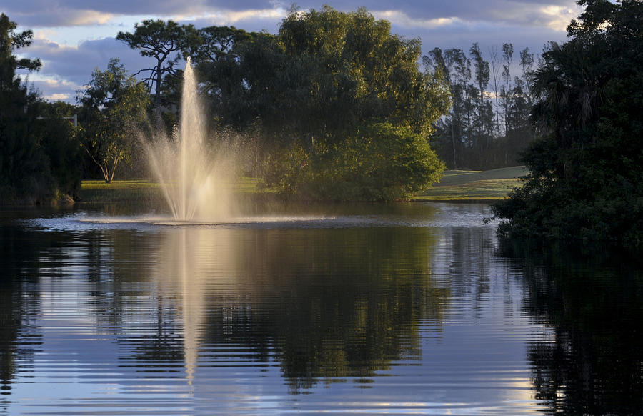 Fountain On Golf Course Photograph