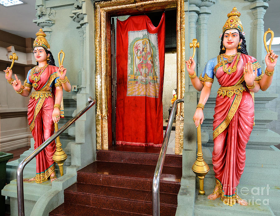 Four-armed Deities Guard The Inner Sanctum Of A Hindu Temple Photograph  - Four-armed Deities Guard The Inner Sanctum Of A Hindu Temple Fine Art Print