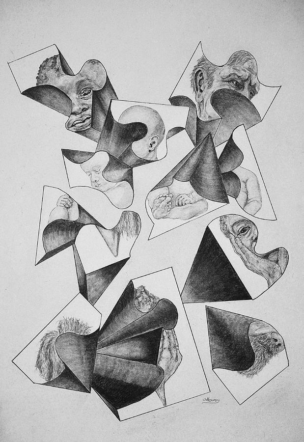 Four Faces In Puzzel Drawing