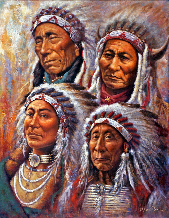 four great lakota leaders painting by harvie brown. Black Bedroom Furniture Sets. Home Design Ideas