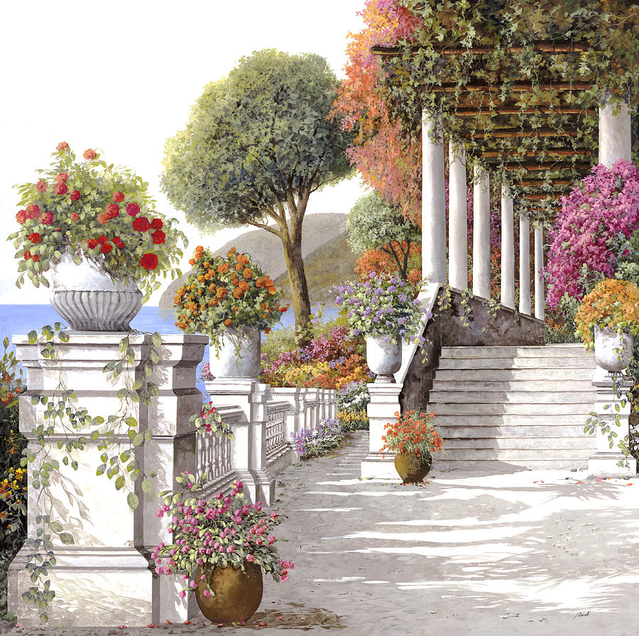 four seasons-summer on lake Como Painting  - four seasons-summer on lake Como Fine Art Print