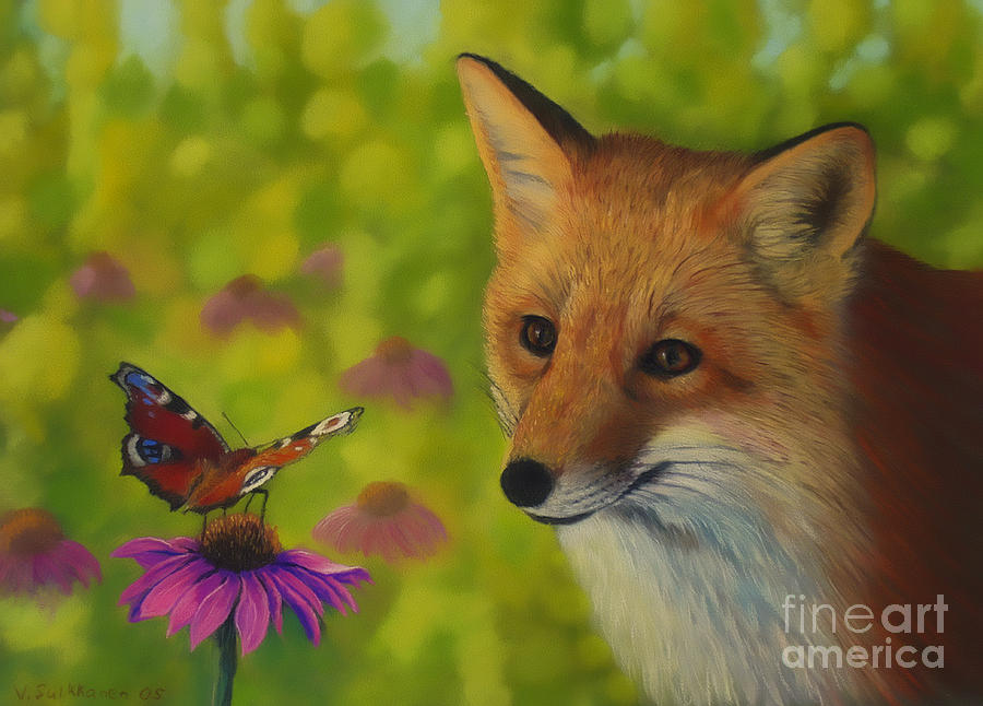 Fox And Butterfly Pastel By Veikko Suikkanen