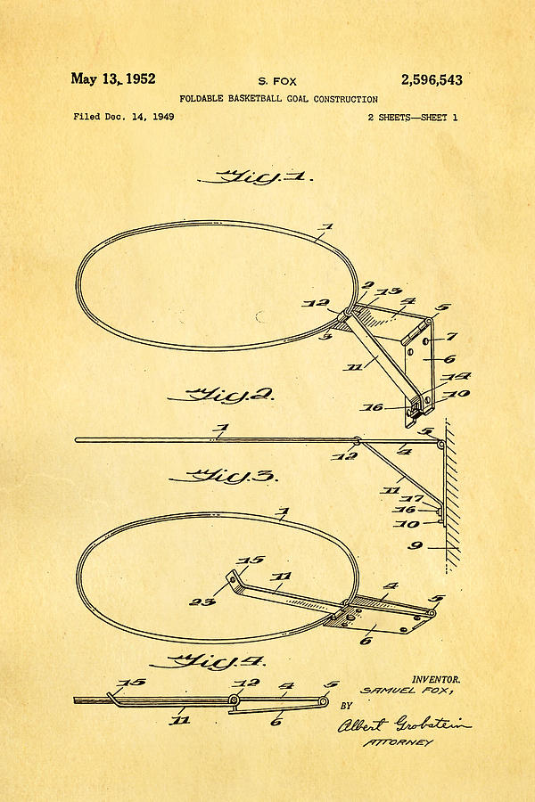 Fox Foldable Basketball Goal Patent Art 1952 Photograph