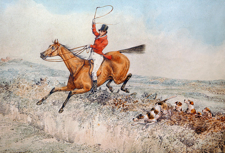 Dog; Sport; Hound; Hounds; Dogs; Tally Ho; Lively; Sporting Painting - Fox Hunting by Henry Thomas Alken