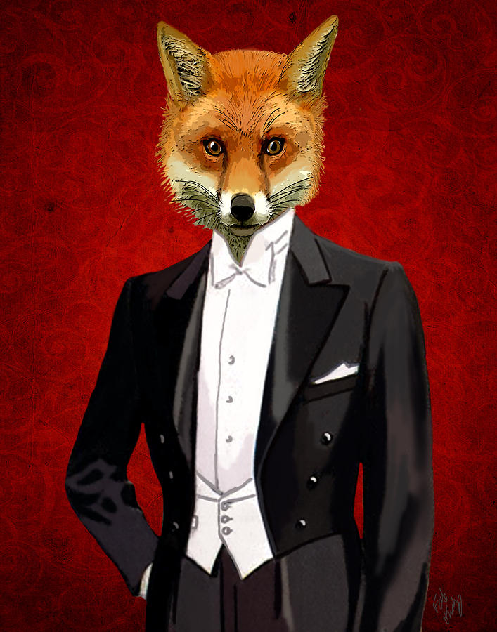 Fox In A Evening Suit Digital Art