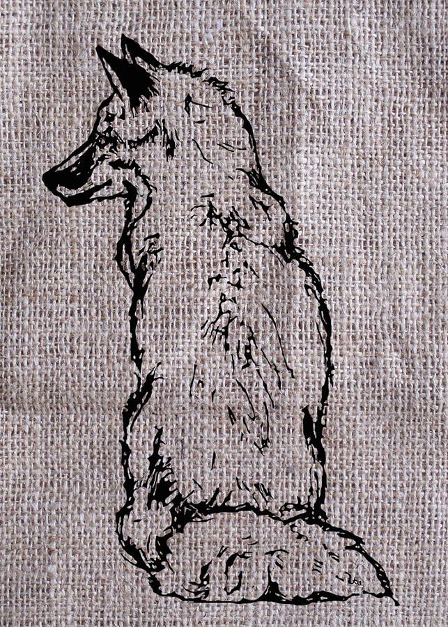 Fox On Burlap  Drawing
