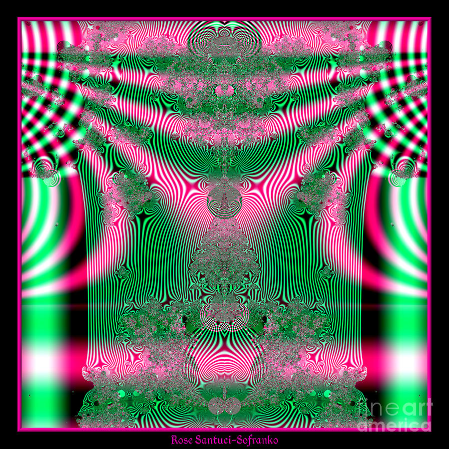 Fractal 34 Kimono In Pink And Green Digital Art