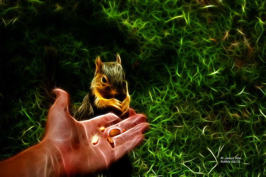 Fractal - Feeding My Friend - Robbie The Squirrel Digital Art  - Fractal - Feeding My Friend - Robbie The Squirrel Fine Art Print