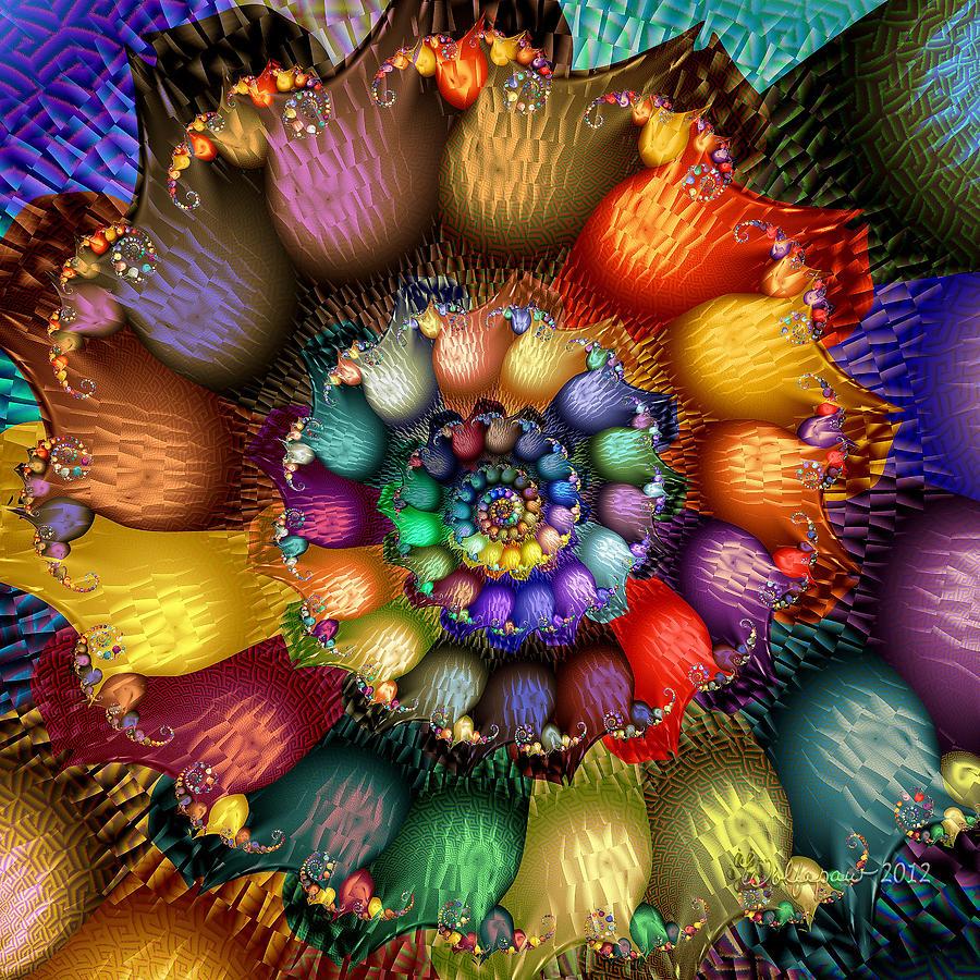 Fractal Textured Spiral Digital Art