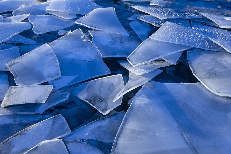 Ice Photograph - Fractured Surface Ice Drifted To The by John Hyde