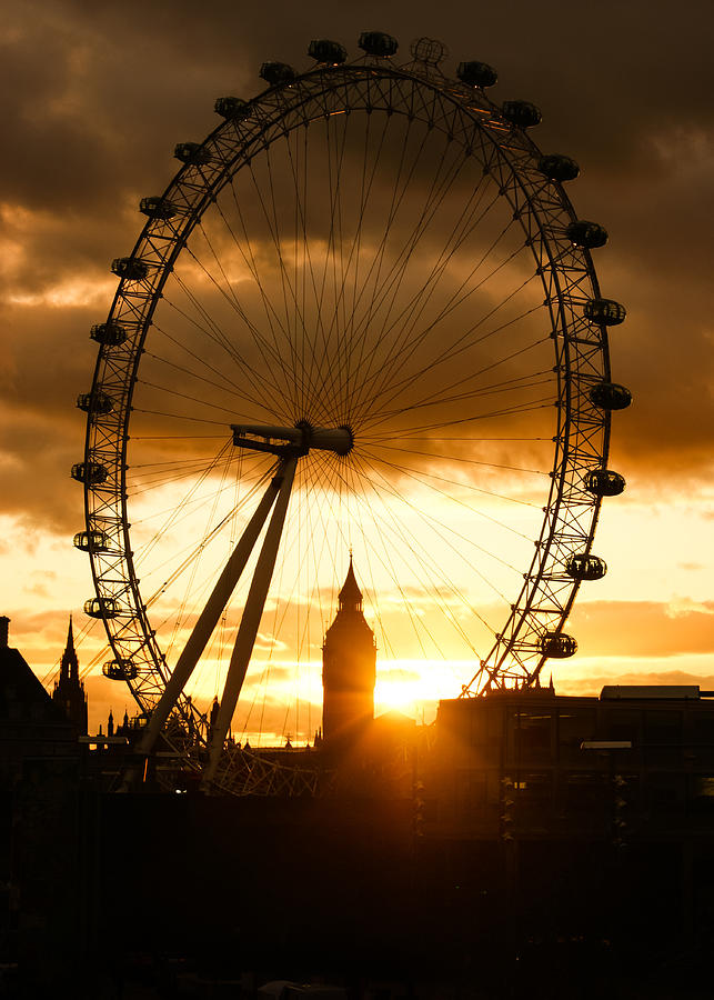 Framing The Sunset In London - The London Eye And Big Ben  Photograph