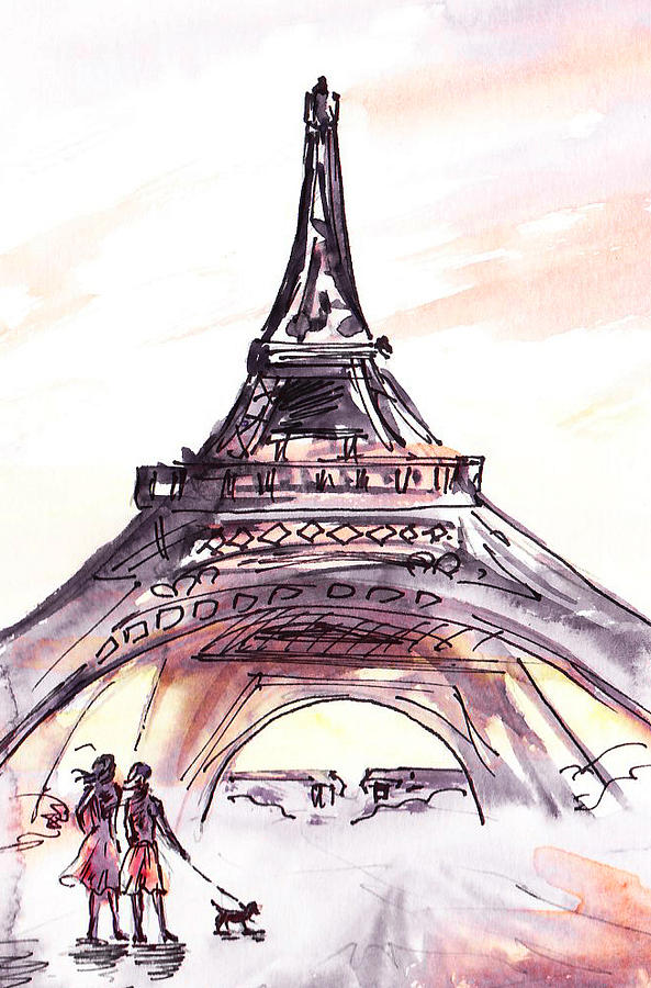 Eiffel Tower Painting - France Sketches Walking To The Eiffel Tower by ...