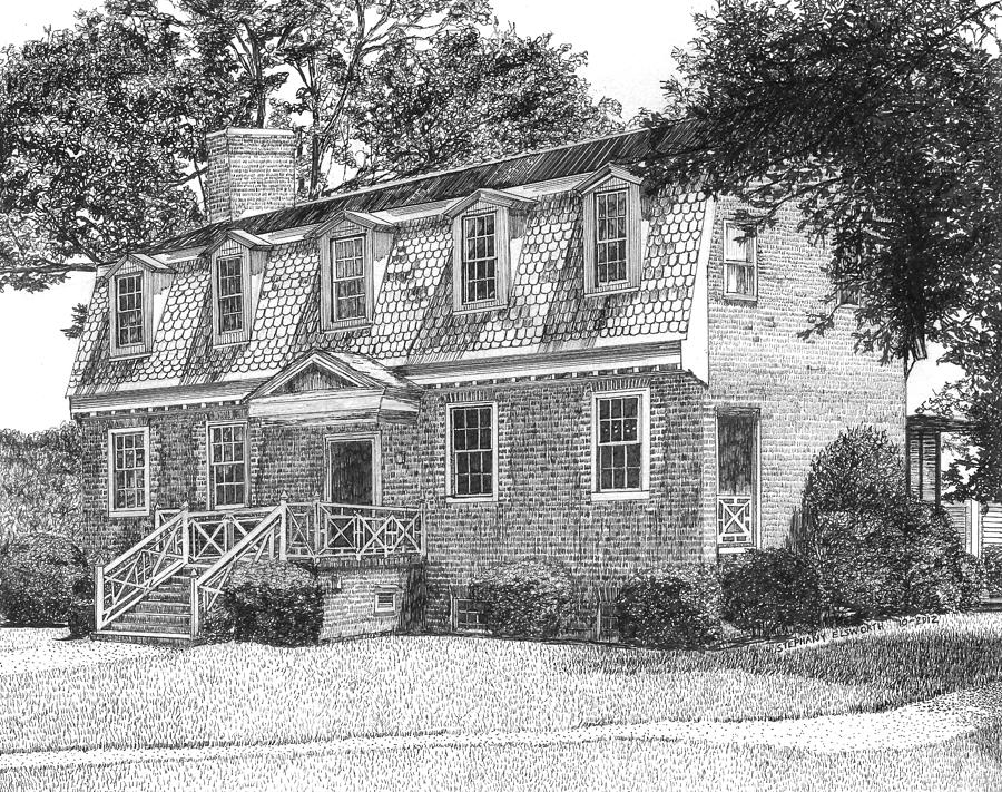 Francis Land House Drawing  - Francis Land House Fine Art Print