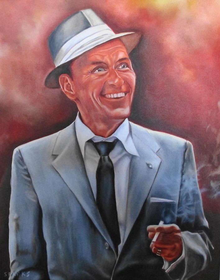 Frank Sinatra Old Blue Eyes Singer Superstar Rat Pack Fifties Smoke Painting - Frank Sinatra by Mark Robinson