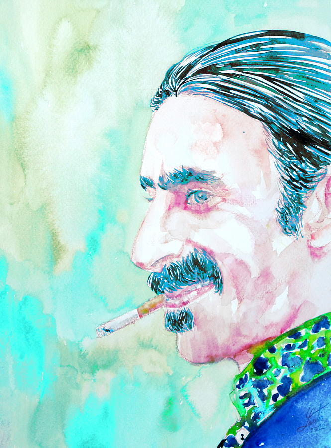 Frank Zappa Smoking A Cigarette Watercolor Portrait Painting  - Frank Zappa Smoking A Cigarette Watercolor Portrait Fine Art Print