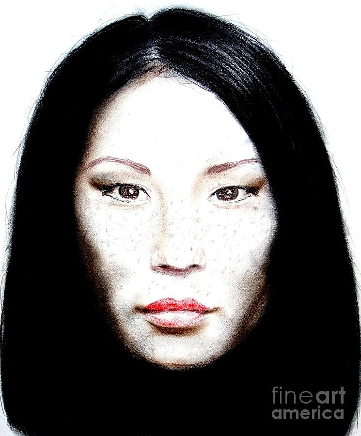 Freckle Faced Beauty Lucy Liu  II Drawing