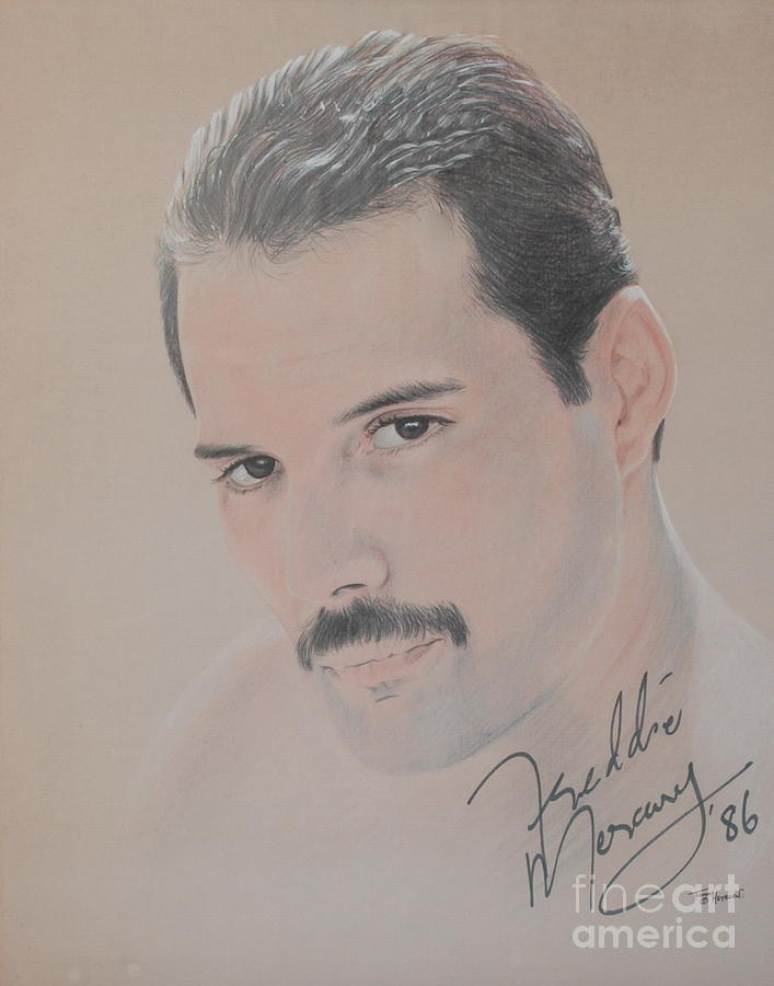Freddie Mercury Signed  Drawing  - Freddie Mercury Signed  Fine Art Print