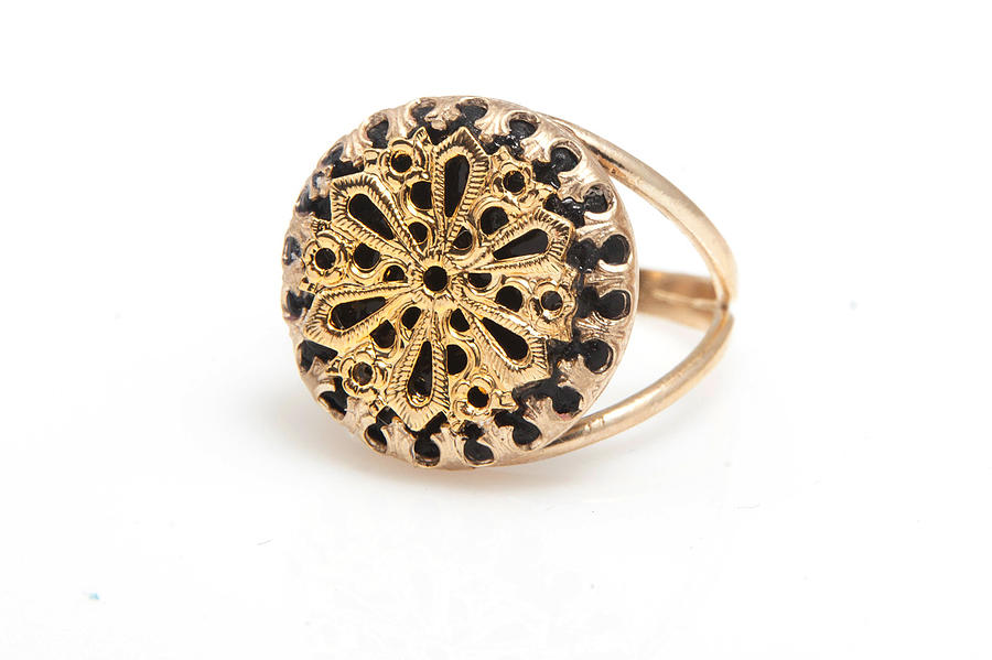 Free Shipping Idit Stern Gold And Black Split Band Ring Jewelry