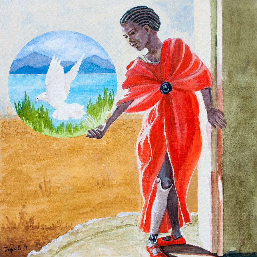 African Girl Painting - Freedom Rising by Kathryn Donatelli