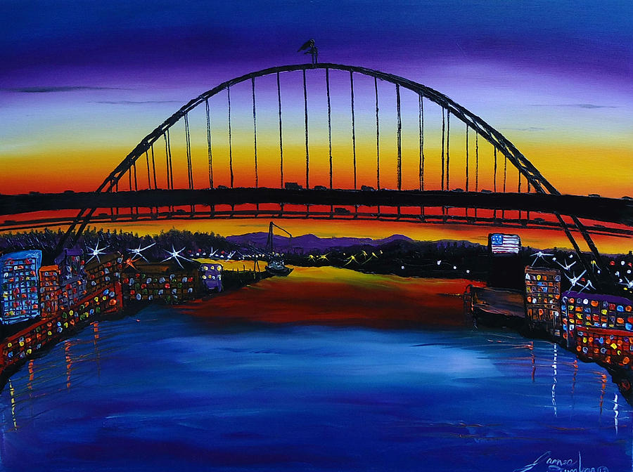 Fremont Bridge At Dusk 5 Painting  - Fremont Bridge At Dusk 5 Fine Art Print