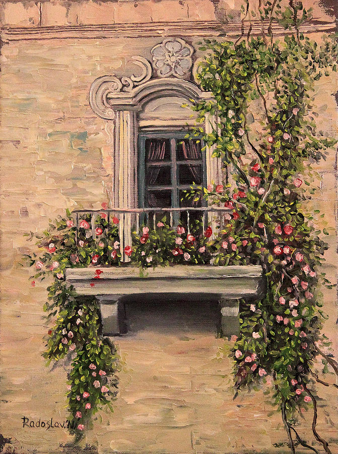 French balcony painting by radoslav nedelchev for What is a french balcony