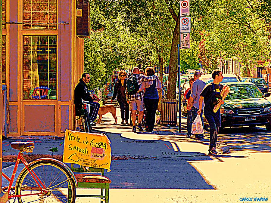 French Bread On Laurier Street Montreal Cafe Scene Sunny Corner With Vente De Garage Sign Painting  - French Bread On Laurier Street Montreal Cafe Scene Sunny Corner With Vente De Garage Sign Fine Art Print
