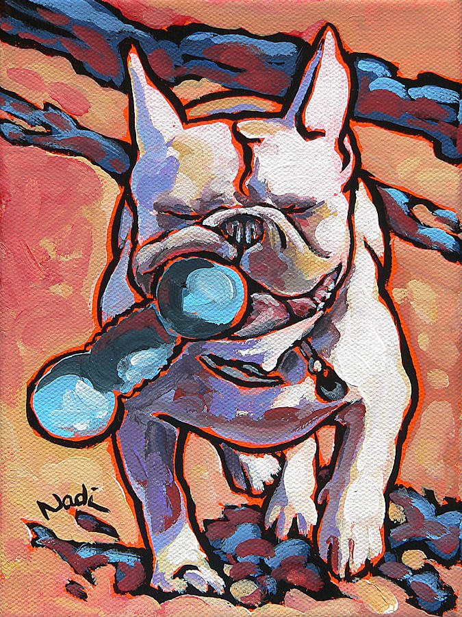 French Bulldog And Toy Painting  - French Bulldog And Toy Fine Art Print