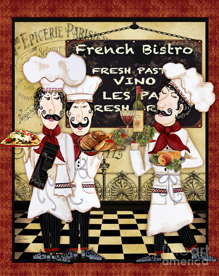French Chefs-Bistro Painting by Jean Plout  French Chefs Bistro