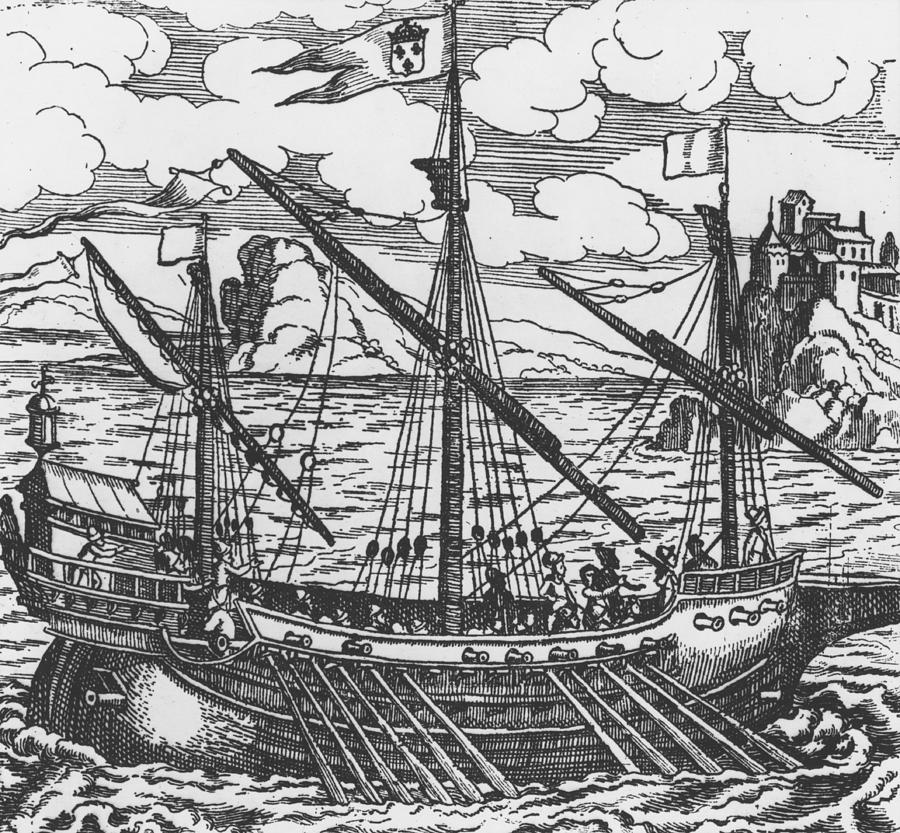 Ship; Oar; Oars; Sail; Sails; Crew; Sea; Eastern Mediterranean; Trade; Port; Trading; Mast; Masts; Seaport; Seaports; Vessel; Woodcut; Engraving Drawing - French Galley Operating In The Ports Of The Levant Since Louis Xi  by French School