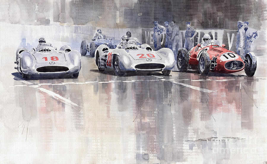 French Gp 1954 Mb W 196 Meserati 250 F Painting  - French Gp 1954 Mb W 196 Meserati 250 F Fine Art Print
