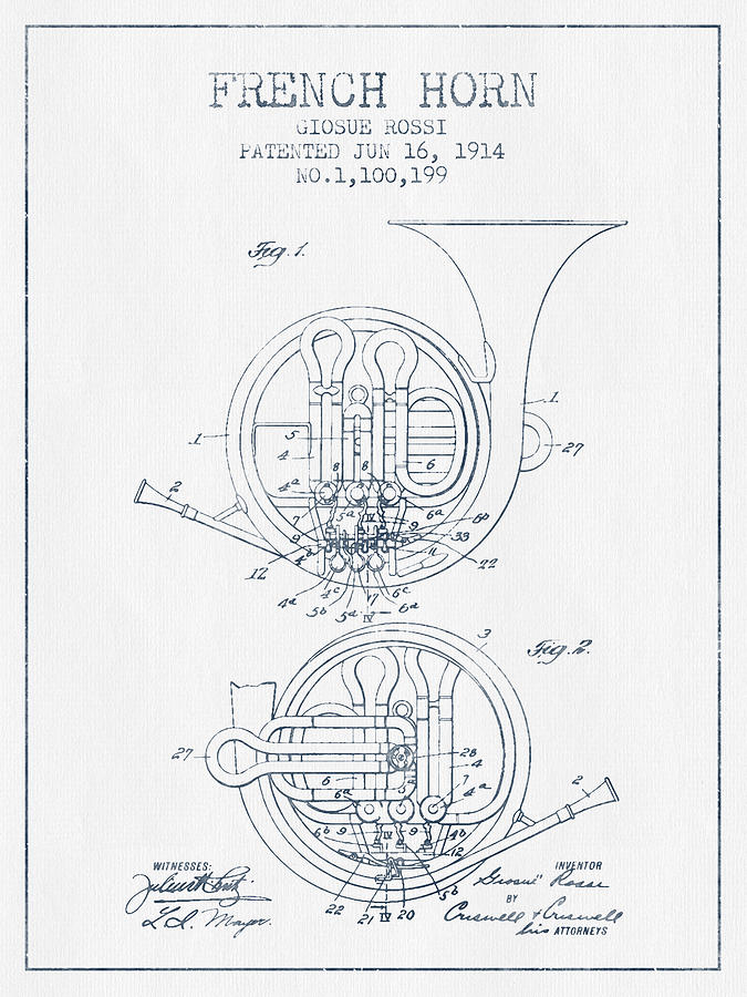 French Horn Patent From 1914 - Blue Ink Drawing