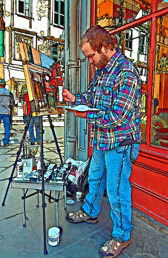 French Quarter Artist Painted Photograph