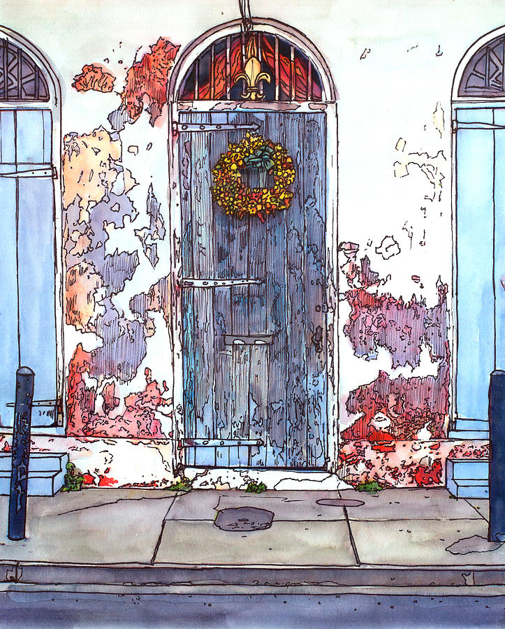 French Quarter Door Painting  - French Quarter Door Fine Art Print