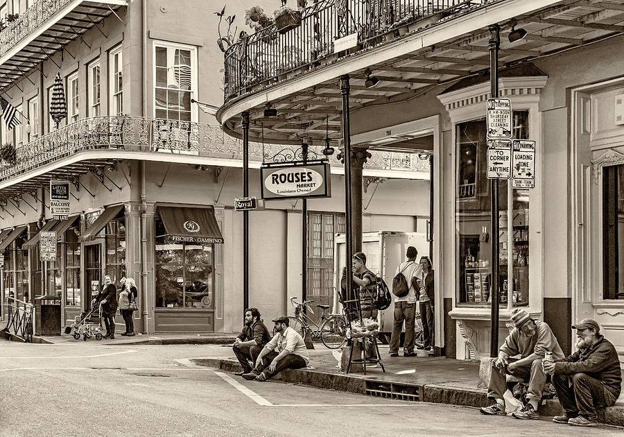 French Quarter - Hangin Out Sepia Photograph