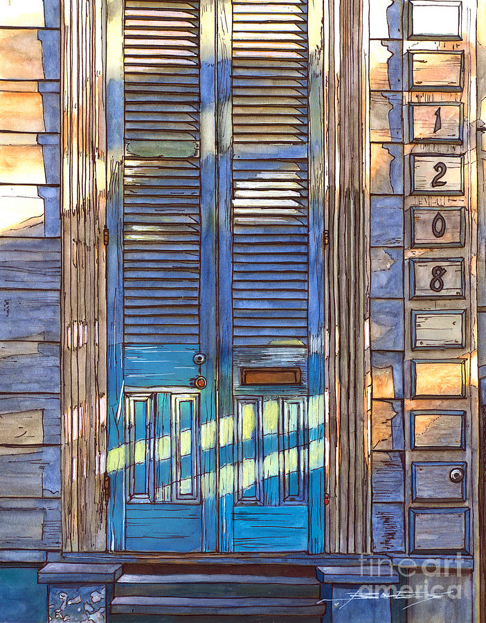 French Quarter House 1208 Painting  - French Quarter House 1208 Fine Art Print
