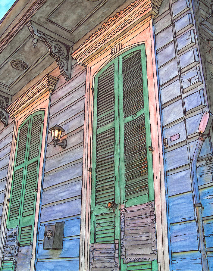 French Quarter Shutters 368 Painting  - French Quarter Shutters 368 Fine Art Print