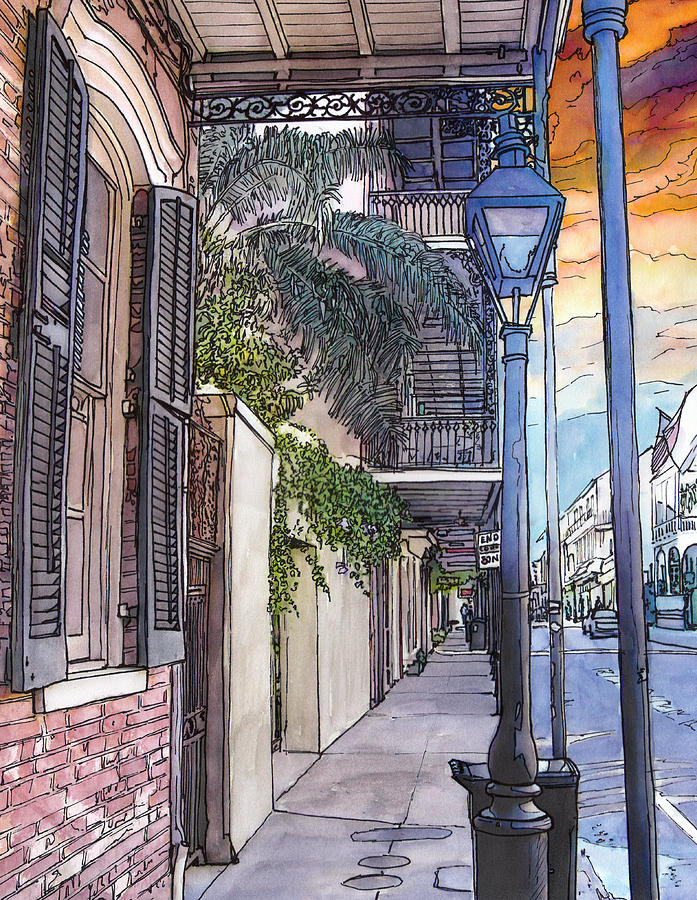 French Quarter Sidewalk 443 Painting  - French Quarter Sidewalk 443 Fine Art Print