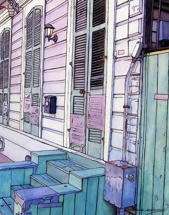 New Orleans Painting - French Quarter Stoop 213 by John Boles