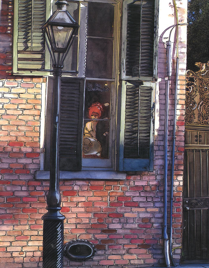 French Quarter Window 384 Painting  - French Quarter Window 384 Fine Art Print