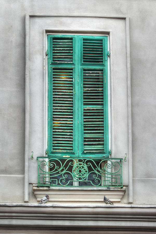French Quarter Window In Green Photograph  - French Quarter Window In Green Fine Art Print