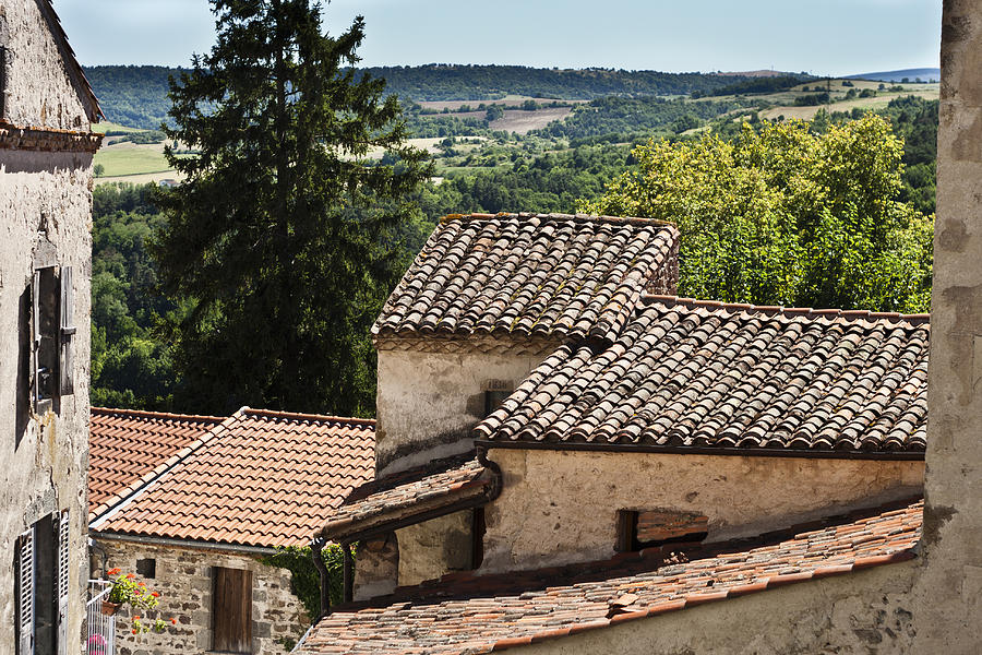 Montaigut Le Blanc Photograph - French Roofs by Georgia Fowler