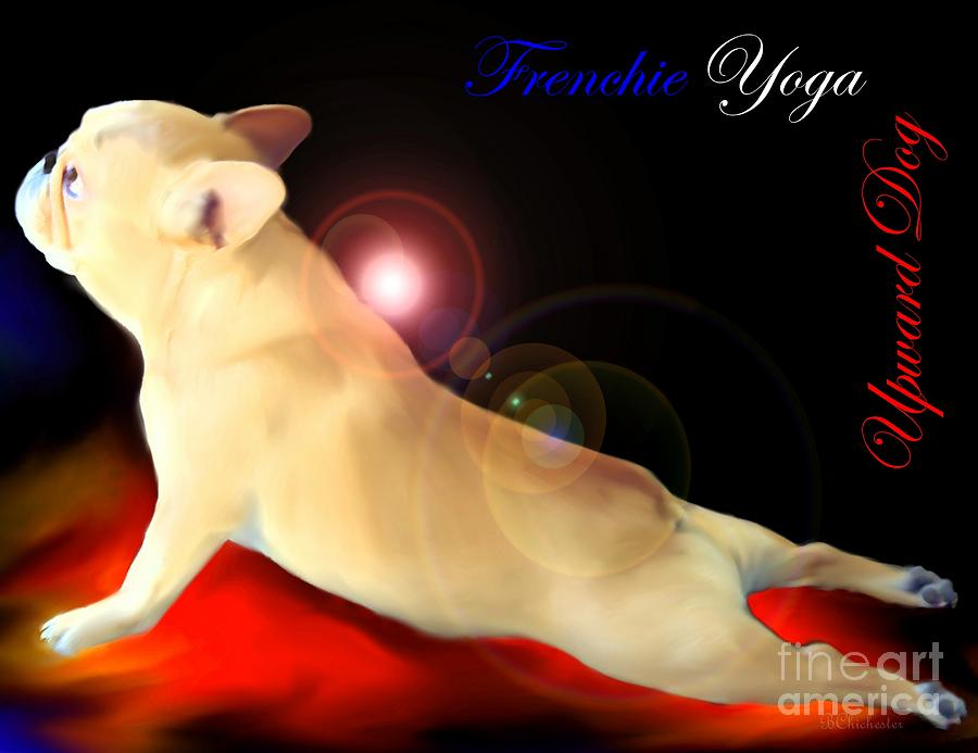 Frenchie Yoga Upward Dog Painting  - Frenchie Yoga Upward Dog Fine Art Print
