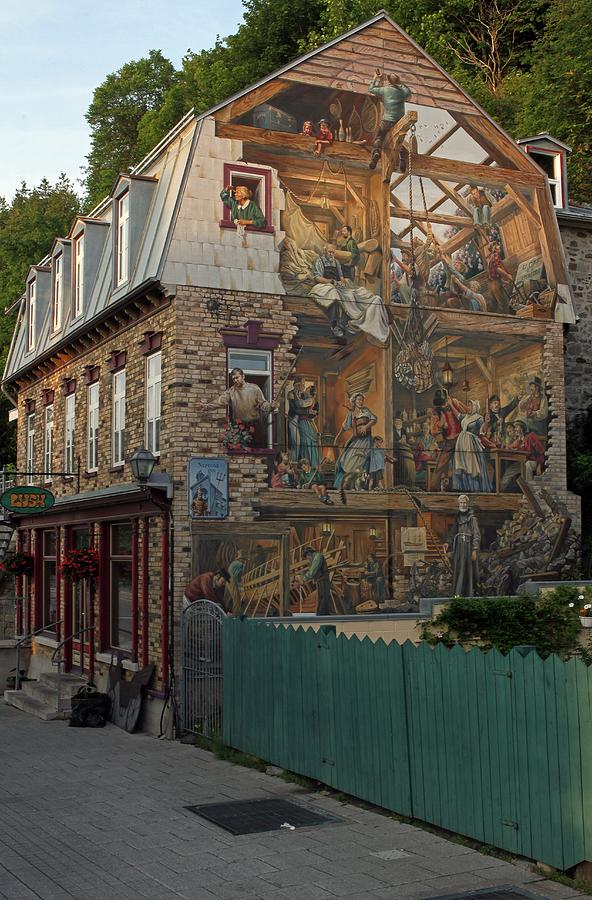Fresco Wall Art Painting In Quebec City Photograph  - Fresco Wall Art Painting In Quebec City Fine Art Print