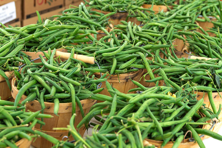 Baskets Photograph - Fresh Green Beans In Baskets by Teri Virbickis