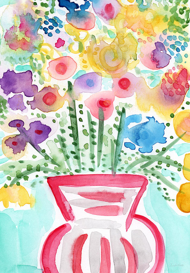 Fresh Picked Flowers- Contemporary Watercolor Painting Painting