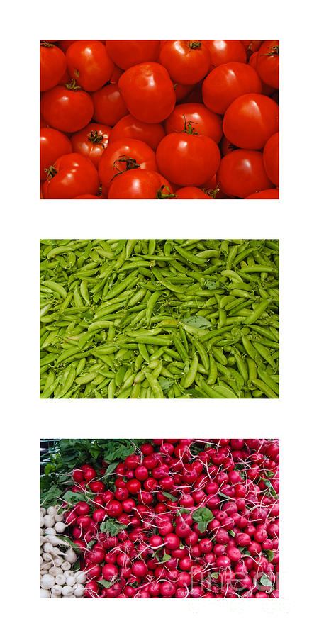 Fresh Vegetable Triptych Photograph  - Fresh Vegetable Triptych Fine Art Print