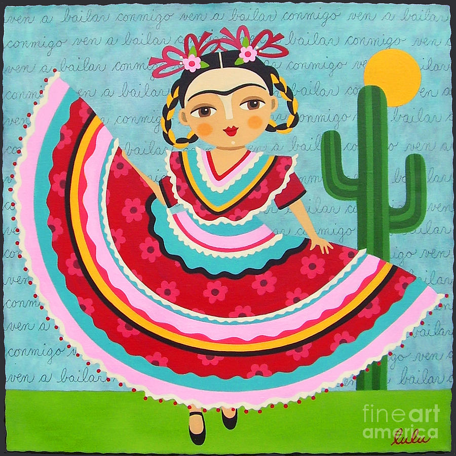 Frida Kahlo In Traditional Dress Painting By Lulu Mypinkturtle