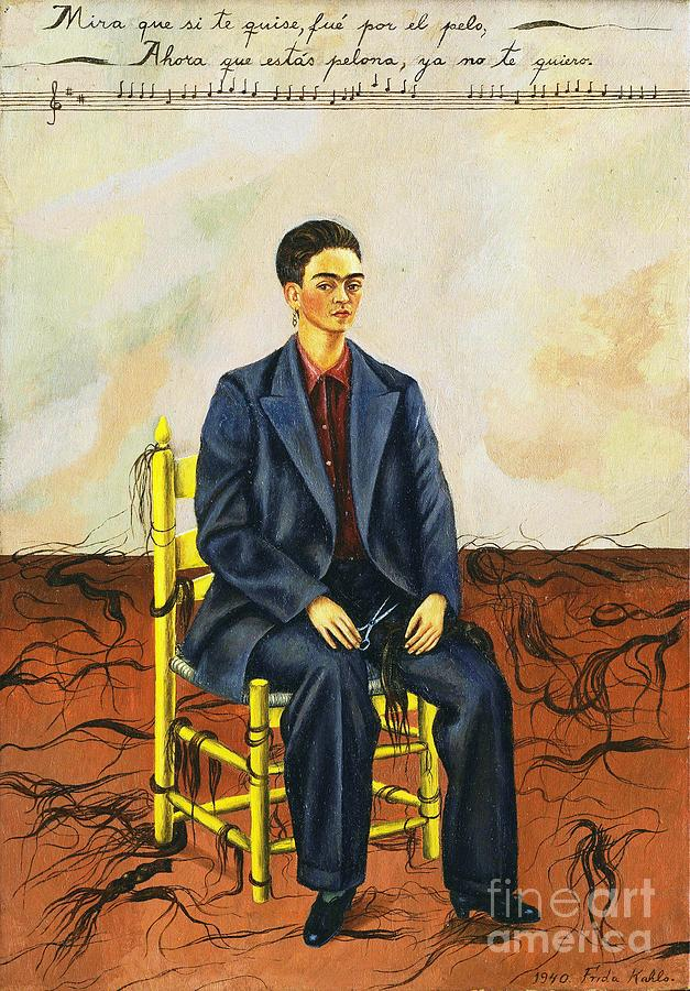 Frida Kahlo Self-portrait With Cropped Hair Autorretrato Con Pelo Cortado Painting  - Frida Kahlo Self-portrait With Cropped Hair Autorretrato Con Pelo Cortado Fine Art Print