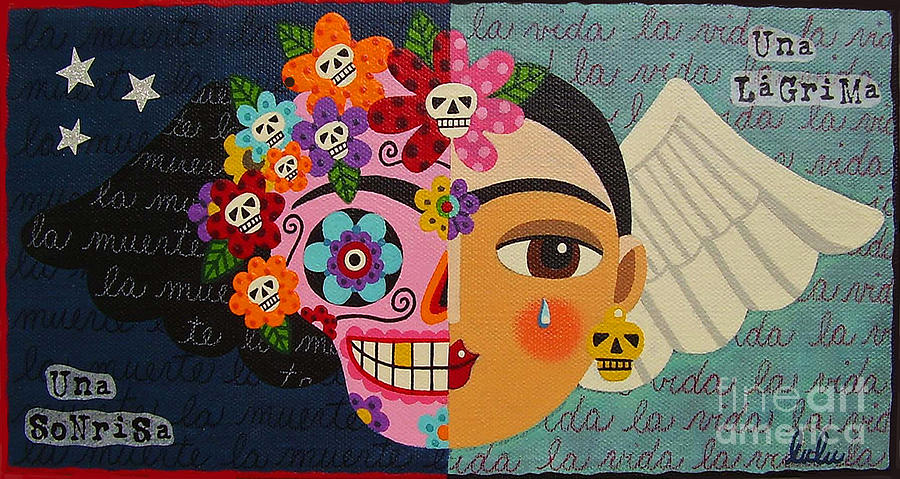 Frida Kahlo Sugar Skull Angel Painting