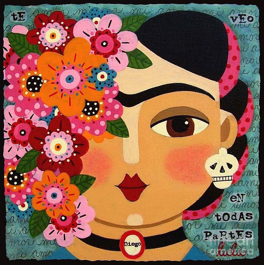 Frida Kahlo With Flowers And Skull is a painting by LuLu Mypinkturtle ...